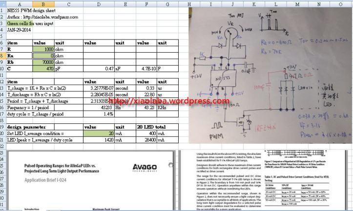 NE555 PWM design sheet, xiaolaba