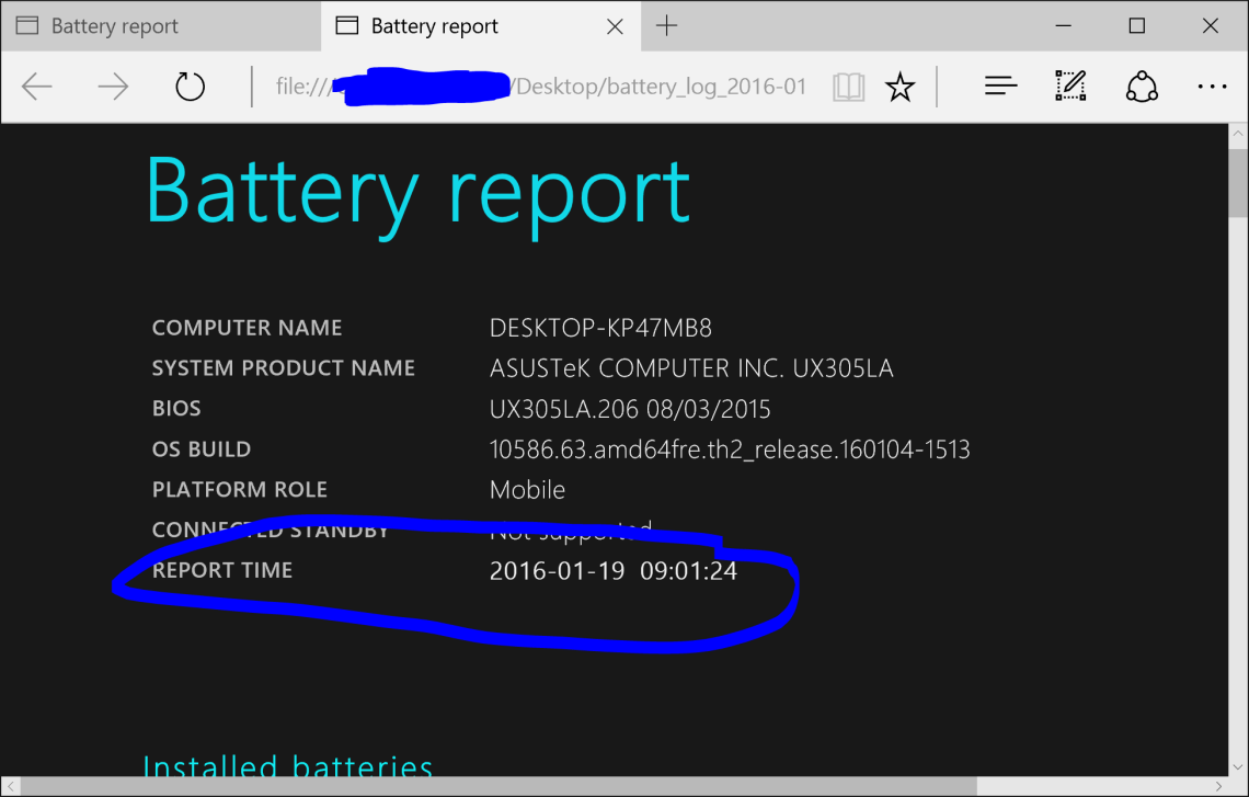 win10 battery report time error